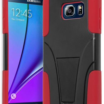 Samsung Galaxy Note 5 Hybrid Red Silicone Cover  Black Stand Case