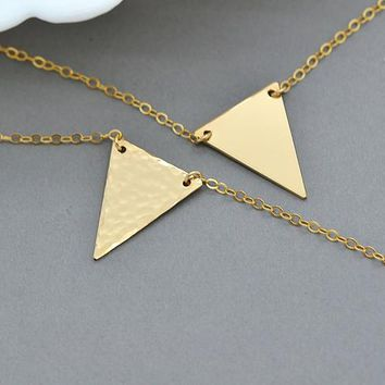 Gold Triangle Necklace, Delicate V Necklace, Geometric Necklace, Hammered Triangle Necklace, Minimal Jewelry