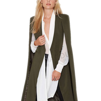 Open Stitch Cloak Women Overcoat Ponchos Long Vest Spring Autumn High Quality Fashion Personality AWC0020