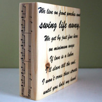 Custom Lyric Block: Swing Life Away by Rise Against, Customized Quote Wood Block, Gift, Home Decor, Wedding Song, Anniversary Gift, 5 year