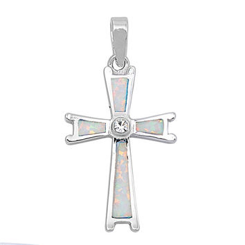 """Sterling Silver Lab White Opal Cross Pendant 31MM (Free 18"""" Chain)"""