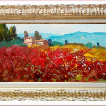 Italian painting impressionist landscape Tuscany Italy red poppies originaloil of Agostino Veroni with frame