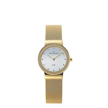 Skagen Women's Freja Quartz Stainless Steel Mesh Casual Watch, Color: Gold-Tone (Model: 358SGGD)