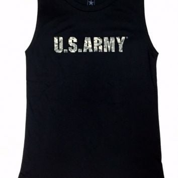 US ARMY LOGO Ladies Girls Muscle Tee Tank Top Sleeveless T-Shirt NEW Licensed