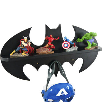 Batman logo Wooden shelf / hook children's bedroom decorative