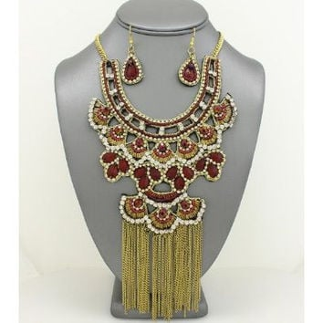 African Statement Sequin Fringe Bib