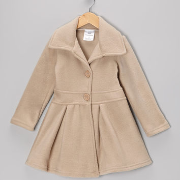 Kid Fashion Tan Button Coat - Infant, Toddler & Girls | zulily