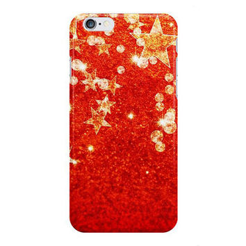 Red and Gold Stars iPhone Case, Samsung Galaxy Case, Christmas Phone Case, Gift