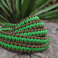 Macrame style paracord leash, green brown and black slip lead for medium and large dogs