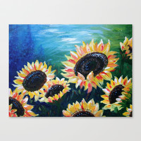 Windblown Sunflowers Stretched Canvas by Shannon Valentine