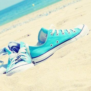 Adult Converse All Star Sneakers Low-Top Leisure shoes Light blue