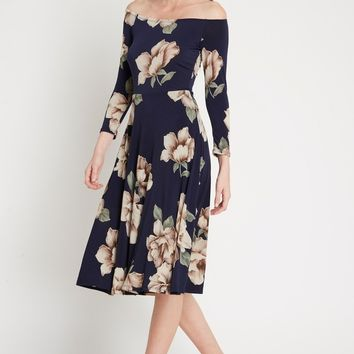 Blaire Off the Shoulder Floral Midi Dress
