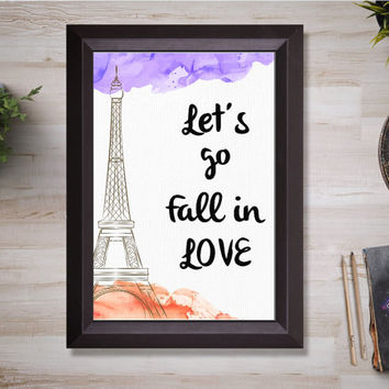 Let's go fall inlove, paris printable, wall art printable, Instant download, purple and red, Eiffel tower, Canvas printable