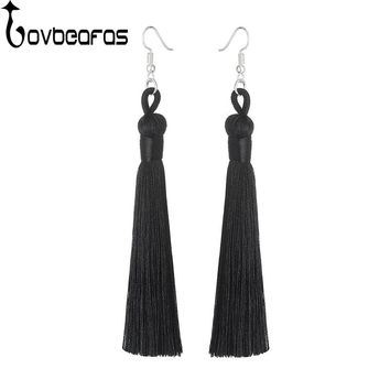 LOVBEAFAS Boho Drop Tassel Women Earrings Long Fringe Dangle Earrings Silk Fabric Rope Wrap Ethnic Vintage Fashion Jewelry