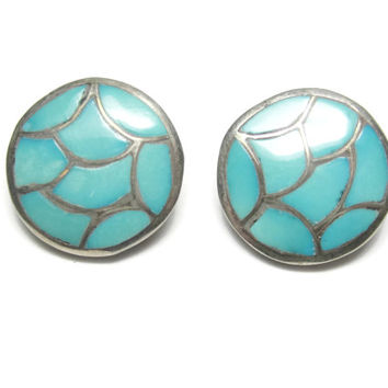 Vintage Navajo Sterling Round Turquoise Clip On Earrings