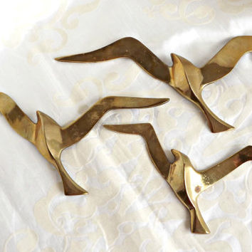 Brass Seagulls, Cottage Decor, Brass Wall Decor, Flock of Seagulls, Home Decor
