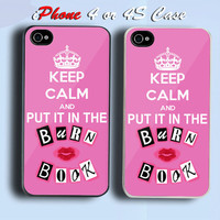 Keep Calm and put it in the Burn Book Mean Girls Custom iPhone 4 or 4S Case Cover