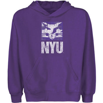 NYU Violets Youth Distressed Primary Pullover Hoodie - Purple - http://www.shareasale.com/m-pr.cfm?merchantID=7124&userID=1042934&productID=543377453 / NYU Violets