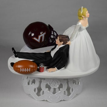 Funny Wedding Cake Topper Virginia Tech Hokies College Football Themed Unique and Humorous Cake Topper