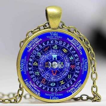 Zodiac Signs Wicca Glass Necklace