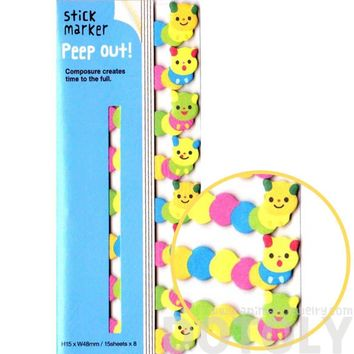 Hungry Caterpillar Shaped Peep Out Memo Post-it Sticky Tabs from Japan | Animal Themed Stationery