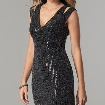 Short Metallic V-Neck Party Dress