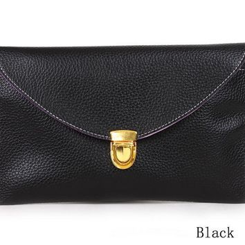 Gold Lock Classic Clutch - Black