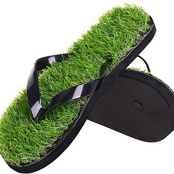 Men Women Summer Beach Flip Flops Casual Grass Lawn Simulation Sandals