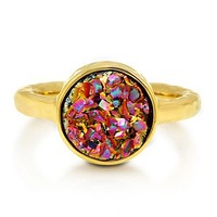 Round Multi-Color Natural Druzy Quartz Gold Plated Brass Fashion Ring #r700-M