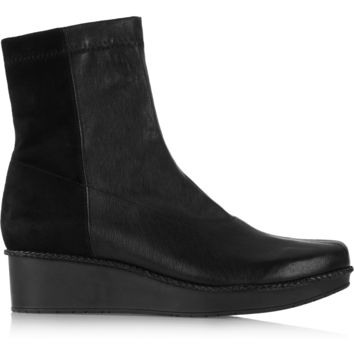 Robert Clergerie - Noa leather and stretch-suede wedge ankle boots