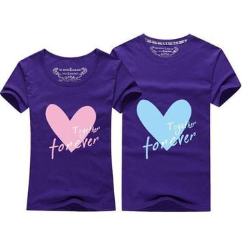 PEAPGB2 T-shirts Tops & Tees 2016 casual shirts Cartoon heart T shirt Plum color College Style T shirt couples clothes lovers t-shirt