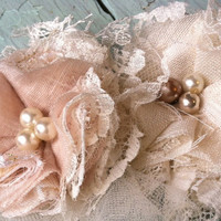 Shabby Chic Linen Fabric Flowers with Ivory Lace and Bridal Tulle