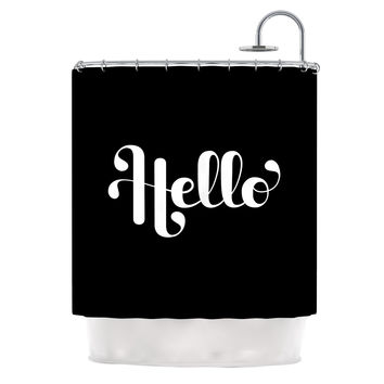"Roberlan ""Hello"" White Black Shower Curtain"