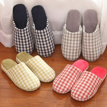Couple Cotton Winter Plaid Anti-skid Slippers [9067738820]