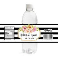 Black Stripes Wedding Water Bottle Labels