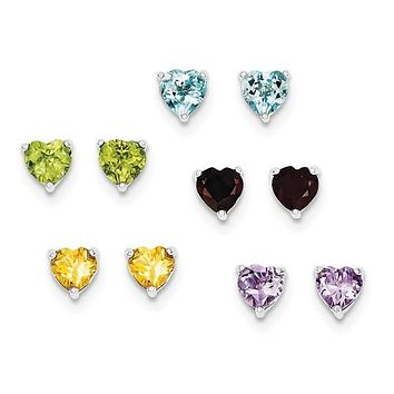 Sterling Silver Genuine Gemstone Heart Post Earrings 5 Pair Set