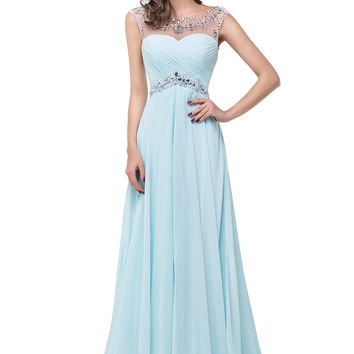 Light Sky Blue Backless Chiffon  Long Beaded Prom Dresses OK1