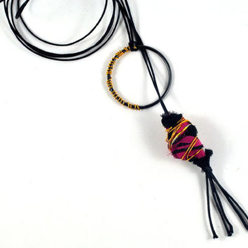 ON SALE Handmade Fabric Bead Pink & Black Wire Wrapped Organic Lariat Necklace with Tassel Jewellery on Waxed Cotton Double Thread