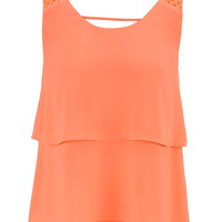 Crochet Shoulder Tiered Chiffon Tank - Living Coral