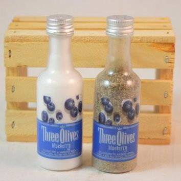 Salt & Pepper Shaker from Upcycled Three Olives Blueberry Mini Liquor Bottles