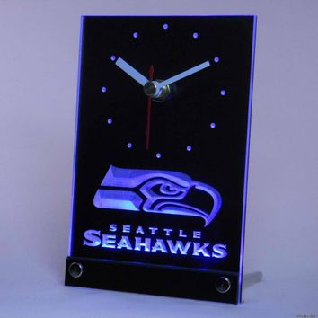 Seattle Seahawks Desk Clock with 3D LED Technology