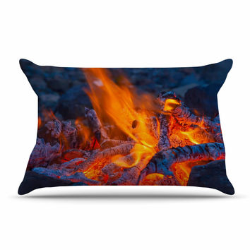 "KESS Original ""Red Hot"" Blue Orange Pillow Case"