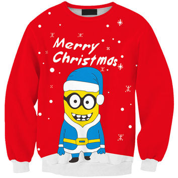 Long Sleeve Christmas Minions Print Round-neck Pullover Tops Hoodies [8398299777]