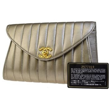 Auth CHANEL CC Logos Mademoiselle Clutch Hand Bag Leather Gold Vintage 55EC797