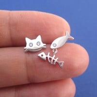 Kitty Cat and Fish Bone Shaped Stud Earrings in Silver