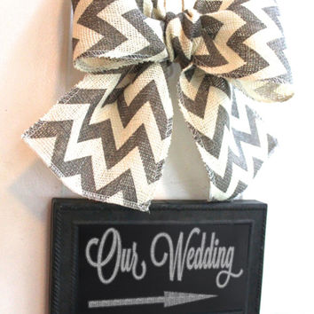 Wedding CHALKBOARD Sign - Write your own message - Hanging Sign -  Chevron Burlap Bow Rustic Black board Sign
