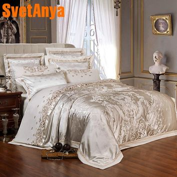 Svetanya Sliver Golden Luxury Satin Jacquard Bedding Sets Embroidery Bedline double queen king size Pillowcase Sheet Duvet Cover