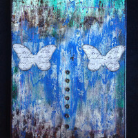 """Acrylic Painting- Mint, Blue, Brown, and White Abstract Mixed Media with Butterflies and Industrial Embellishments on 11""""x14"""" Canvas"""