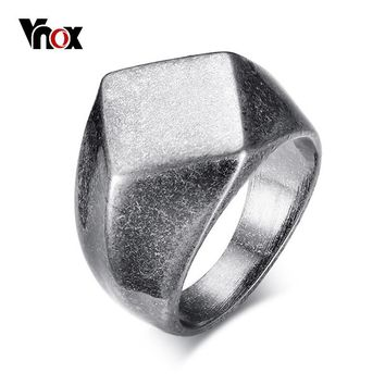 Vnox Punk Chunky Flat Rhombus Ring For Men Fraternal Band Stainless Steel Retro Viking Jewelry