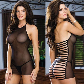 Women Black Sexy Lingerie Babydoll Sheer Sleepwear one size (Color: Black) = 1697490244